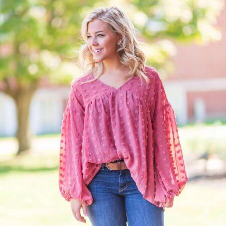Hopeful Home || Pretty as a Rose Dotted Top $37.00