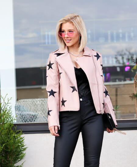 The Tiny Closet || Buddy Love Count Stars Leather jacket, Blush $98.00