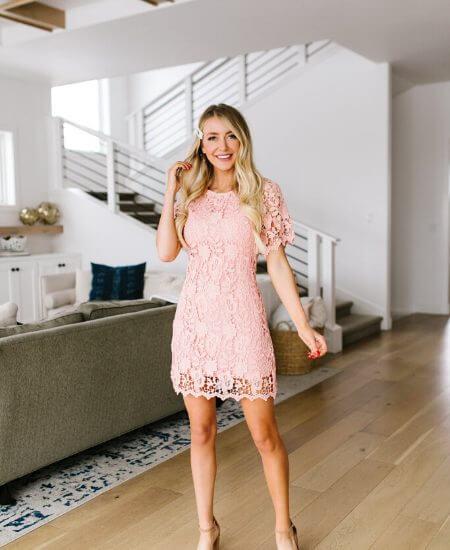 F Sutton Boutique || Coral Pink Lace Sheath Dress $48.00