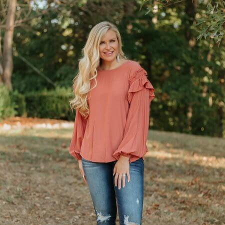 Be You Boutique || Carolina Ruffled Top ~ Faded Coral $ 36.95