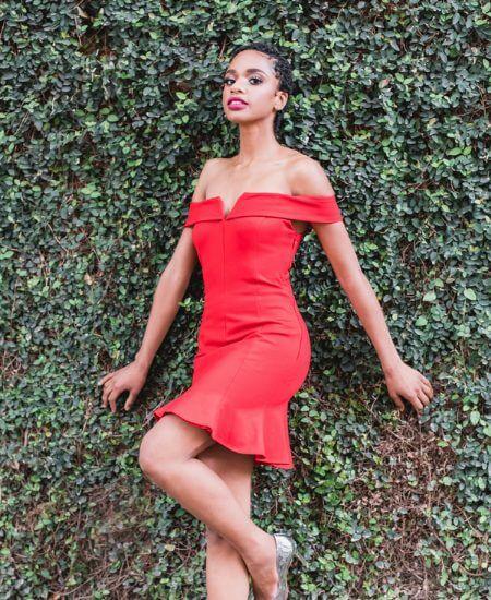 When & Wear || Red Strapless Knit Mini Dress $46.99