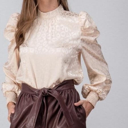 Bar L Boutique || Leopard Print Puff Sleeve Blouse $54.00