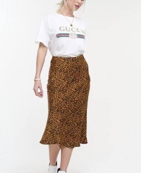 "Denim and Street || ""Confident"" Leopard Silky Skirt $49.00"
