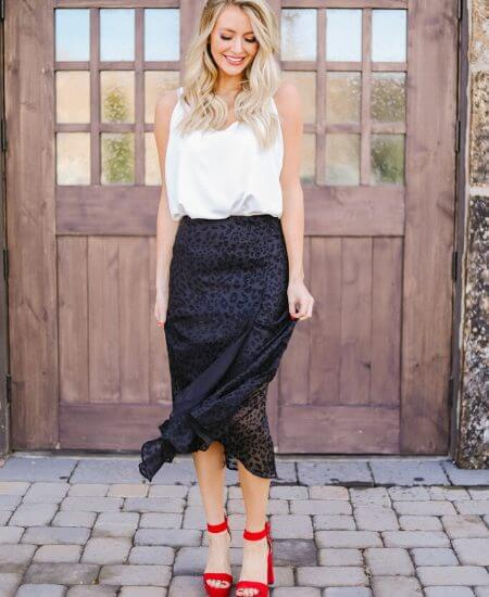 F Sutton Boutique || Midnight Spotted Midi Skirt $48.00