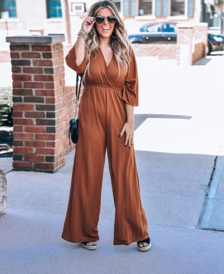 Everyday Chic Boutique || CINNAMON BACK TIE JUMPSUIT $60.00