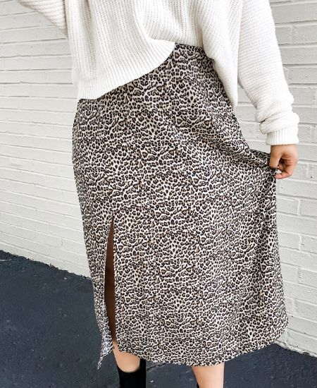 Coco Grand Boutique || Feline Midi Skirt $ 39.99