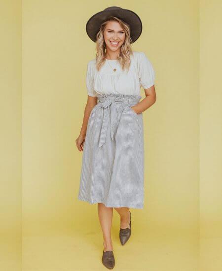 Lettie Boutique || Melody Pinstripe Midi Skirt in Gray $18.50