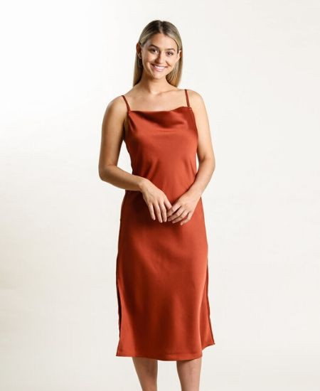 Salt and Soul || Kylie Cowl Neck Slip Midi Dress $52.00