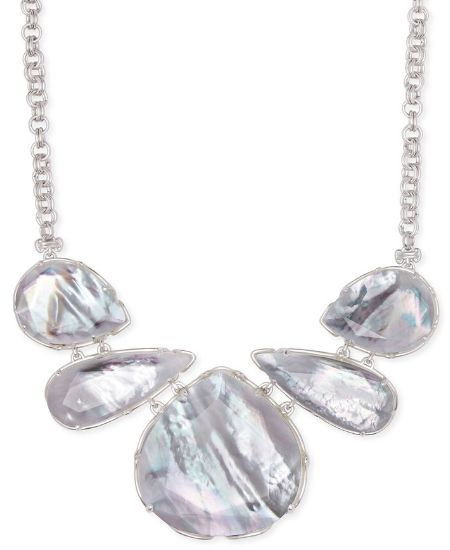 Stella Raes || KENDRA SCOTT KENZIE SILVER STATEMENT NECKLACE IN IVORY MOTHER-OF-PEARL