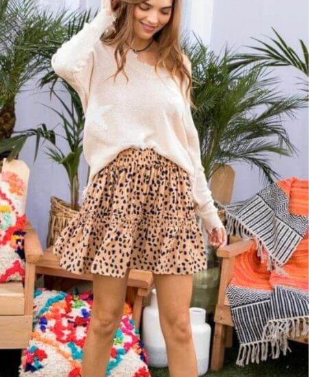 LaLa She Boutique || Julia Good Karma Brown Leopard Tiered Skirt$28.00