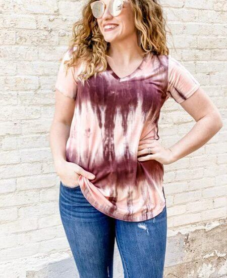 Mezoozah Boutique    Burgundy and Pink Tie Dye Top $29.95