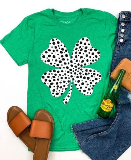 A Blessed Boutique|| Dalmatian Clover Green Tee $ 27.67