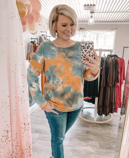 J Lane Boutique    Spring Sunset Tie Dye Top $26.00