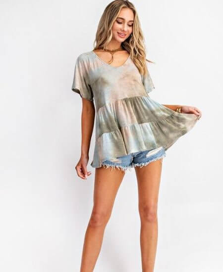 Kadibs Southern Boutique || Tie dye baby doll $26.50