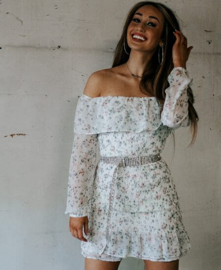 Loveleigh || THE LIGHT IS COMING DRESS - WHITE/FLORAL $48.00