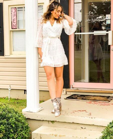Leather and Lace || White Dottie Textured Mini Dress $55.00