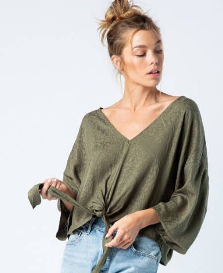 Makaila James || OLIVE YOU ALWAYS TIE-FRONT TOP $40.00