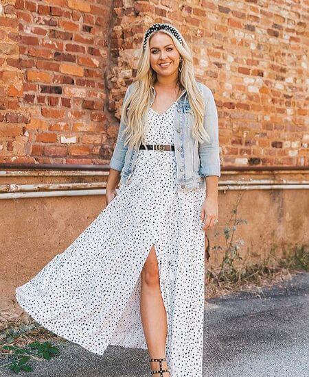 Delectable Darla    DOT PRINTED MAXI DRESS $58.00
