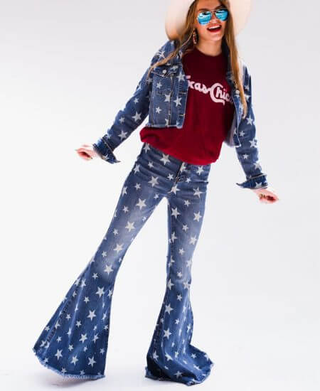 Sweet Texas Treasures || SALLY STAR PRINT SUPER FLARE JEANS $69.00