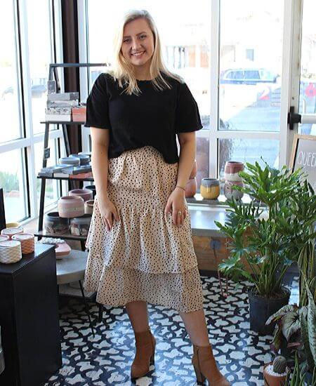 Winnies Boutique    Dots Layered Midi Skirt $46.00