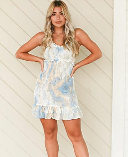 Elle Rae || UP IN THE CLOUDS SMOCKED DRESS $46.00