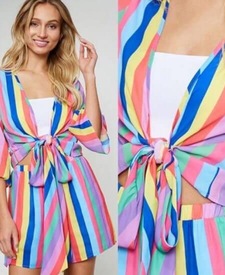 29:11 Boutique || Cabo San Lucas Multicolored Striped Set $56.00