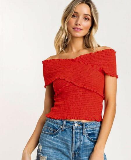 Roses & Thread Boutique    Happy Cross Over Top $38.00