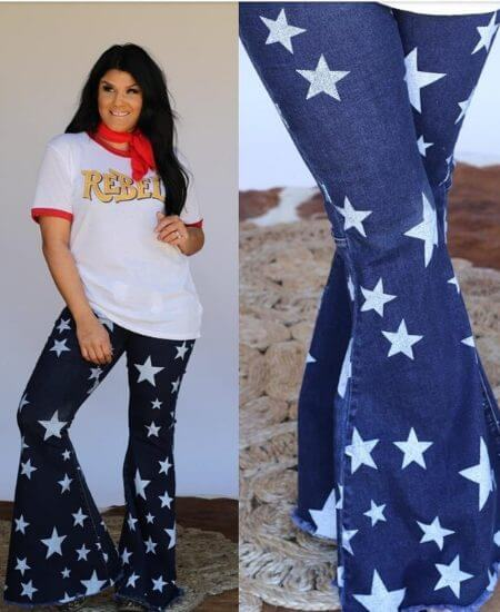 WhiskeyRose Boutique || Star Denim Bell Bottoms $65.00
