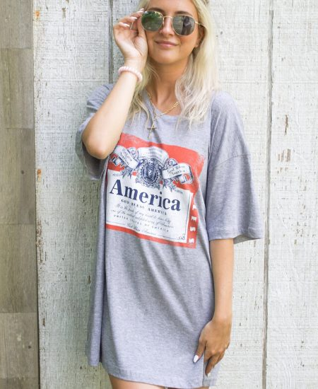 Pretty Posh Boutique || God Bless America Oversized Grey Tee $32.50