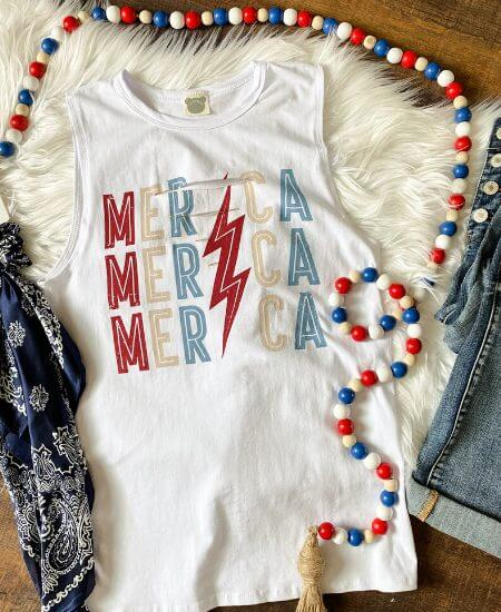 Prairie Chic || DISTRESSED MERICA GRAPHIC TANK $ 29.40