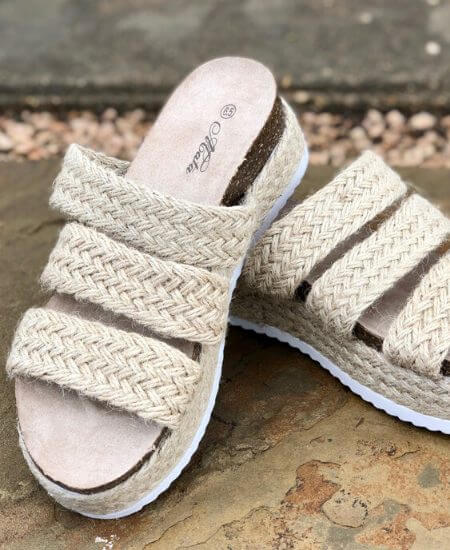 Southern Mess Boutique || Mata Priscilla Sandals in Beige Knit $29.99