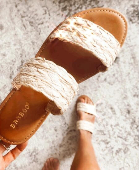 Lala She Boutique || Time to Chill Natural Raffia Slide Sandals $18.00