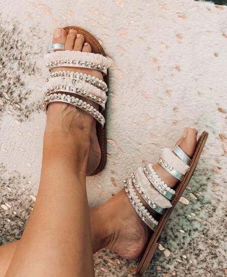 Makaila James || BRONZED BABE BOHO SLIDE SANDALS Camel Threads $46.00