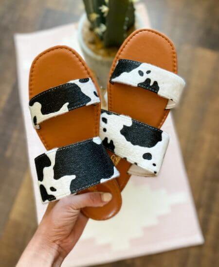 Prairie Chic || BEACHIE SANDAL - COW PRINT $ 28.40