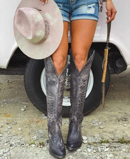 Southern Fried Chics || BLACK EMBROIDERY TALL TOP BOOT BY CORRAL $248.00