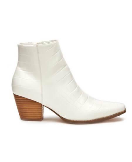 Hemline || Spade Bootie White Croc $95.00