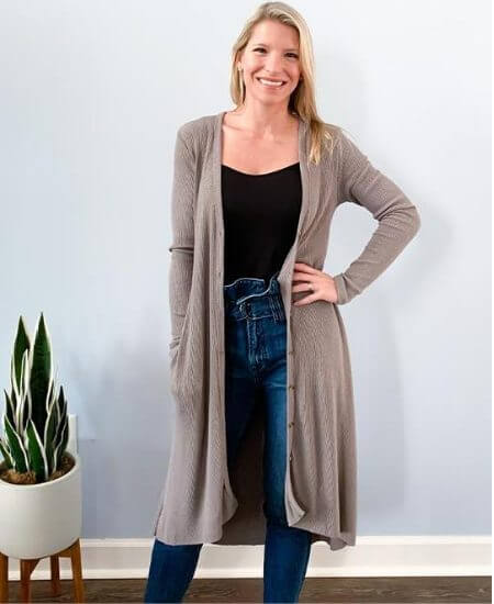 Home Grown Hearts Boutique || Mocha Ribbed Cardigan Duster With Pockets $68.00
