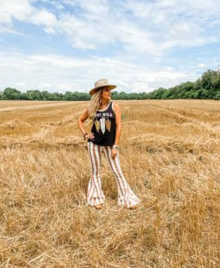 Soul Revival || Coco Rust Stripe Bell Bottoms $ 79.99
