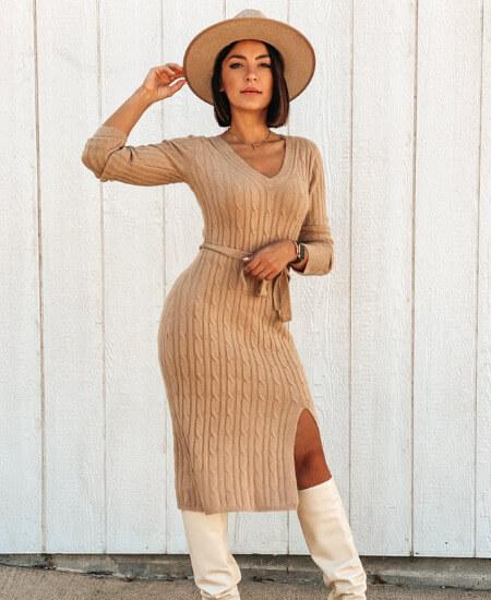The Clothes Rak    KAIA SWEATER DRESS $89.00