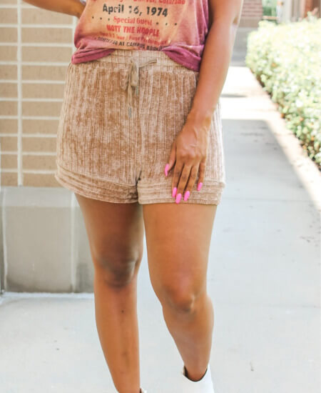 Simply Shine Boutique || Travel Queen Chenille Shorts $ 34.00