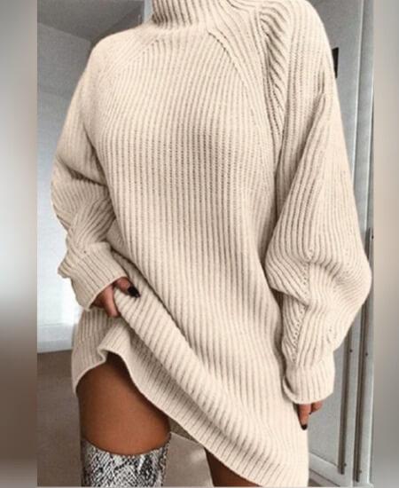 Ginny Marie's || Love Cozy Turtle Neck Sweater Dress Cream $49.80