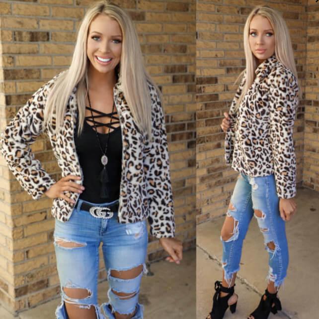 The Lace Cactus    Lake City Soft Leopard Coat $52.99
