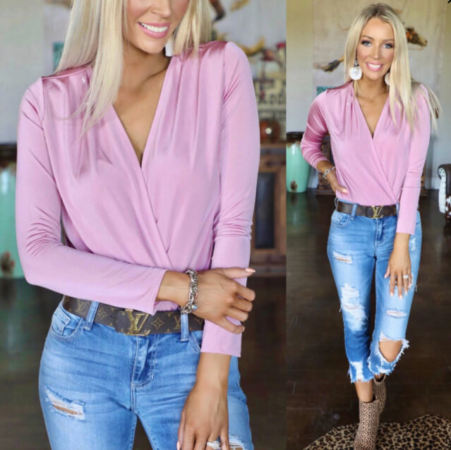 The Lace Cactus    Dusty Pink Plunging Bodysuit $36.99
