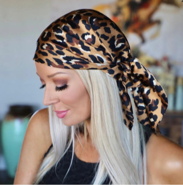 The Lace Cactus    Satin Leopard Scarf Headwrap $16.99