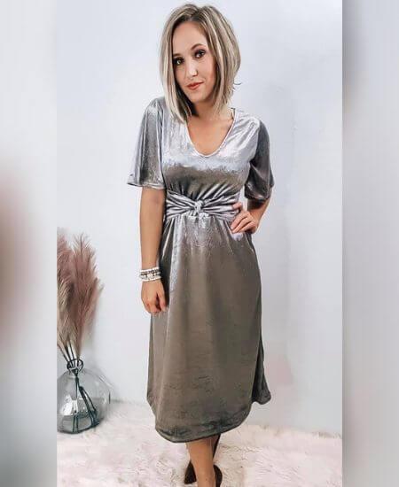 The Broken Levee Boutique    Velvet Tie Dress $44.00