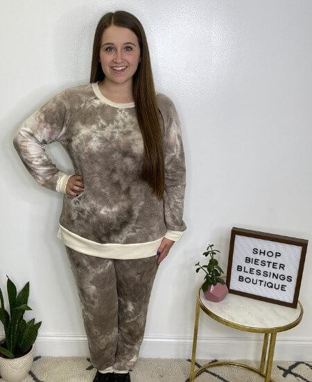 Biester Blessings Boutique || HoneyMe - Mocha Tie Dye Top $36.99