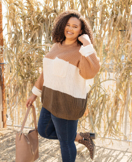 Payton Piper Boutique    THREE TIMES THE COLOR SWEATER IN TOFFEE COMBO $46.00