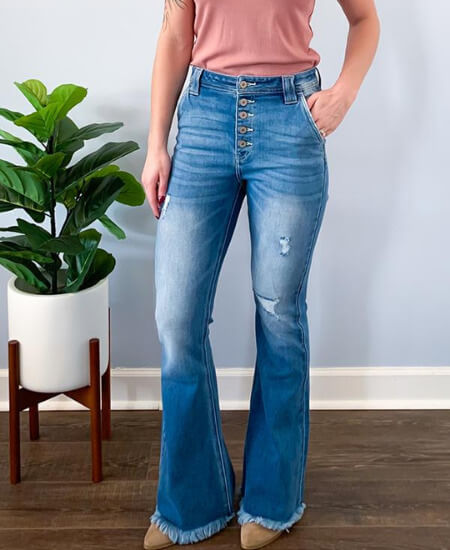 Home Grown Hearts || KanCan High Rise Distressed Flare Light Wash Jeans $60.00