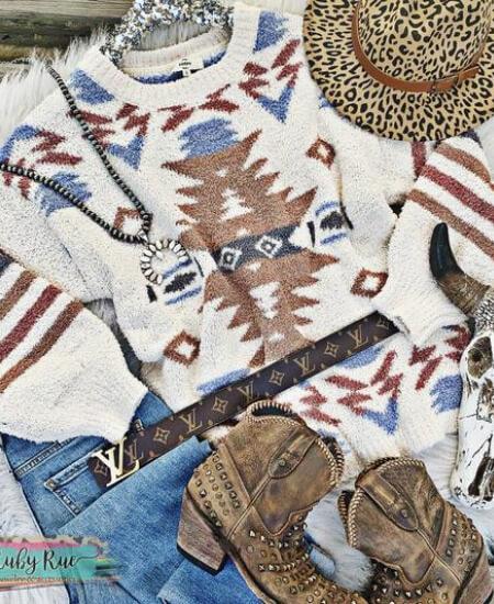 Ruby Rue Jewelry & Accessories || The Gunnison Aztec Sweater $62.00