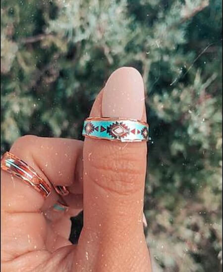 The Pink Spur Proudly || Turquoise Waters Slim Adjustable Copper Ring $25.00